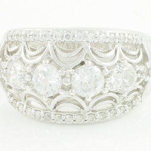 TACORI Sterling Silver CZ Dome Tapered Band SZ 7